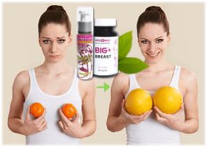 жена мереща гърдите си с малки портокали от ляво и след това усмихната същата жена мереща бюста си с големи грейпфрути, символизиращо тяхното уголемяване и стягане.