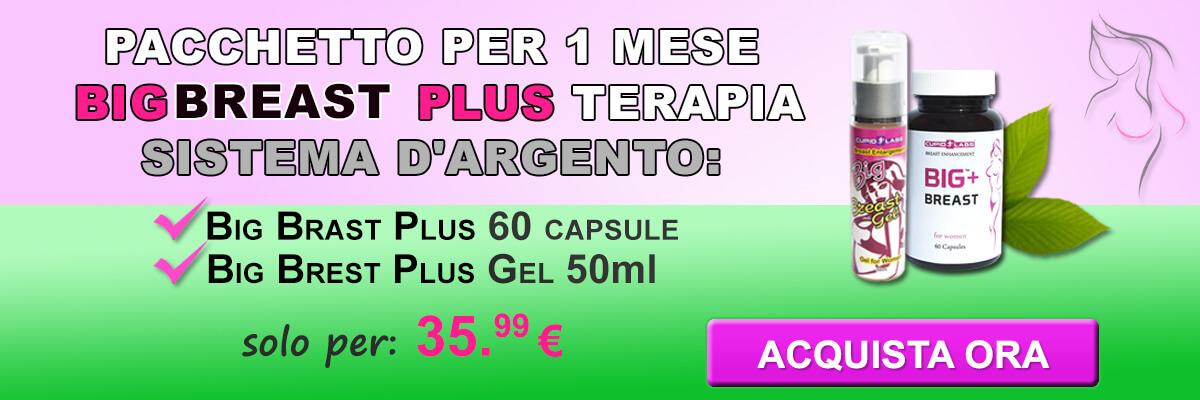 Pacco per 1 mese Big Breast Plus terapia d'oro tra cui Big Breast Plus 60 capsule e Big Brest Plus Gel 50ml. Prezzo indicato e il tipo di prodotti in bell banner in colore verde e rosa.