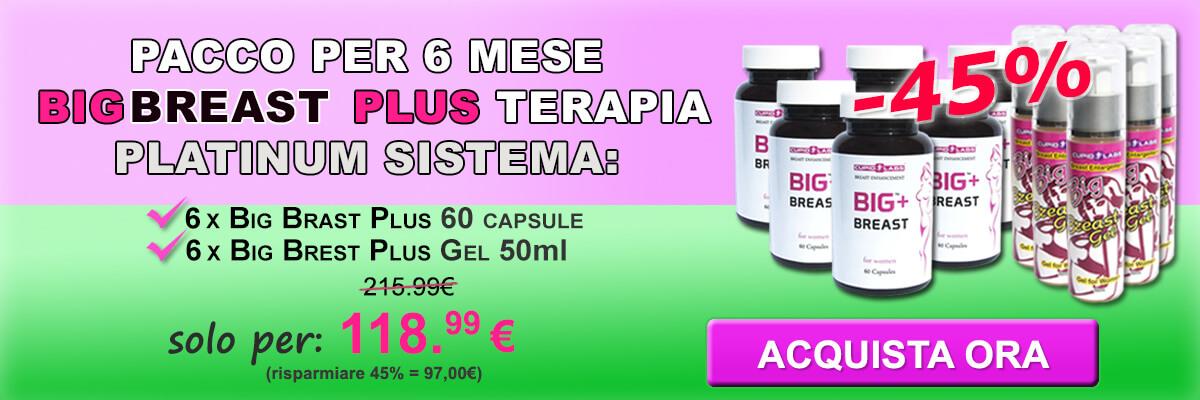 pacchetto per 3 mesi Big Breast Plus terapia di platino, tra cui 6 Big Breast Plus 60 capsule e 6 Big Gel 50ml Breast Plus. Prezzo indicato e il tipo di prodotti in bell banner in colore verde e rosa.