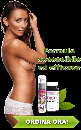 Banner con donna seminuda con seno nudo che pubblicizza la nostra sorprendente gel e pillole per ingrandire del seno.