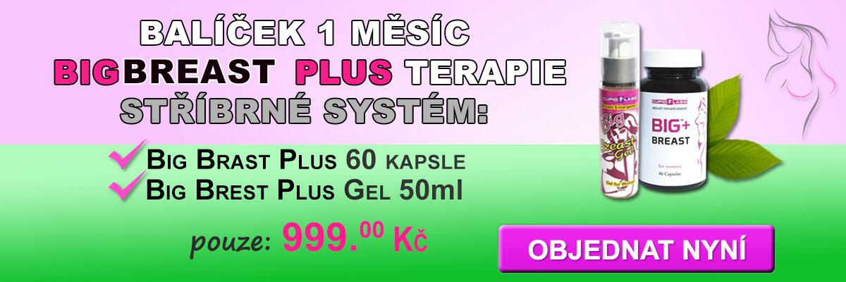 Balíček 1 měsíc Big Breast Plus zlato terapie, včetně Big Breast Plus 60 tobolek a Big Brest Plus Gel 50ml. Zobrazena cena a druh výrobků v krásné růžové a zelené banner.