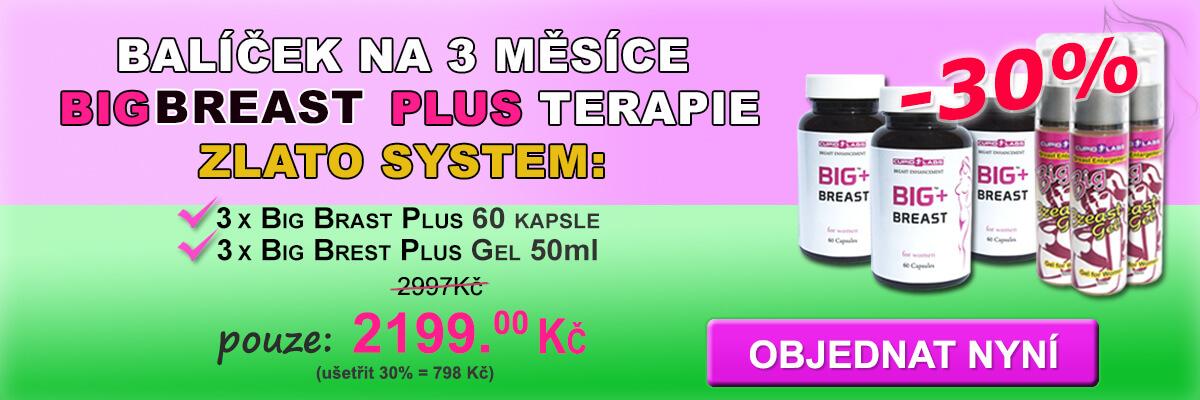 Balíček na 3 měsíce Big Breast Plus zlato terapii, včetně Big Breast Plus 60 tobolek a Big Brest Plus Gel 50ml. Zobrazena cena a druh výrobků v krásné růžové a zelené banner.